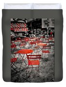 Red In My World - New York City Duvet Cover by Angie Tirado