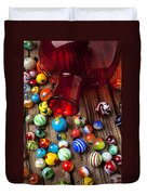 Red Jar With Marbles Duvet Cover by Garry Gay