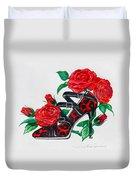 Red Leopard Roses Duvet Cover by Karon Melillo DeVega
