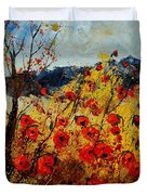 Red Poppies In Provence  Duvet Cover by Pol Ledent