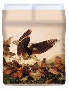 Red Shouldered Hawk Attacking Bobwhite Partridge Duvet Cover by John James Audubon