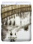 Reflections Of Church Duvet Cover by Karol  Livote