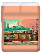 Restaurant Greenspot Deli Hotdogs Duvet Cover by Carole Spandau