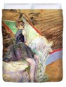 Rider on a White Horse Duvet Cover by Henri de Toulouse Lautrec