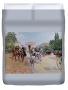 Riders And Carriages On The Avenue Du Bois Duvet Cover by Georges Stein