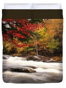 River Rapids Fall Nature Scenery Duvet Cover by Oleksiy Maksymenko
