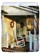 Rocking Chair On Side Porch Duvet Cover by Susan Savad