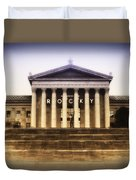 Rocky On The Art Museum Steps Duvet Cover by Bill Cannon
