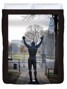 Rocky Statue From The Back Duvet Cover by Bill Cannon