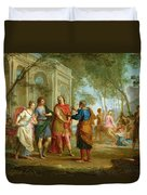 Roland Learns Of The Love Of Angelica And Medoro  Duvet Cover by Louis Galloche