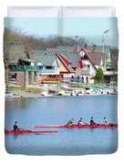 Rowing Along The Schuylkill River Duvet Cover by Bill Cannon