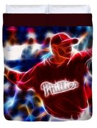 Roy Halladay Magic Baseball Duvet Cover by Paul Van Scott
