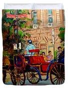 Rue Notre Dame Montreal Duvet Cover by Carole Spandau