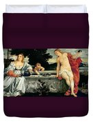 Sacred And Profane Love Duvet Cover by Titian