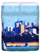 Sailing In The San Francisco Bay Duvet Cover by Wingsdomain Art and Photography