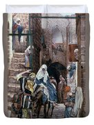 Saint Joseph Seeks Lodging In Bethlehem Duvet Cover by Tissot