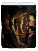 Saint Joseph The Carpenter  Duvet Cover by Georges de la Tour