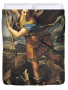 Saint Michael Overwhelming the Demon Duvet Cover by Raphael