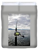 Salmon Fishing Rod Duvet Cover by Darcy Michaelchuk