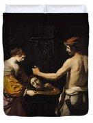 Salome Receiving The Head Of St John The Baptist Duvet Cover by Giovanni Francesco Barbieri