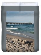 Sand Castles And Piers Duvet Cover by Rob Hans