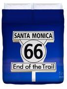 Santa Monica Route 66 Sign Duvet Cover by Paul Velgos