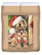 Santas Little Yelper Duvet Cover by Barbara Keith