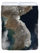 Satellite View Of Snowfall Along South Duvet Cover by Stocktrek Images