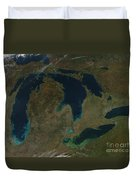 Satellite View Of The Great Lakes, Usa Duvet Cover by Stocktrek Images