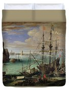 Scene Of A Sea Port Duvet Cover by Paul Bril