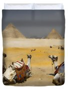 Scenic view of the Giza Pyramids with sitting camels Duvet Cover by David Smith