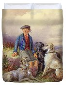 Scottish Boy With Wolfhounds In A Highland Landscape Duvet Cover by James Jnr Hardy