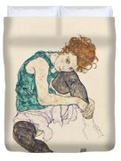 Seated Woman With Bent Knee Duvet Cover by Egon Schiele