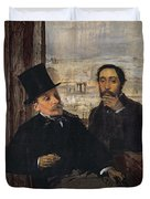 Self Portrait With Evariste De Valernes Duvet Cover by Edgar Degas