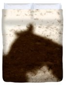 Shadow of Horse and Girl Duvet Cover by Angela Rath