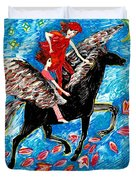 She Flies With The West Wind Duvet Cover by Sushila Burgess