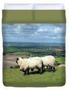 Sheep At Westbury Tor Duvet Cover by Kurt Van Wagner