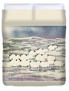 Sheep In Winter Duvet Cover by Suzi Kennett