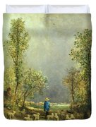 Sheep Watching A Storm Duvet Cover by Constant-Emile Troyon