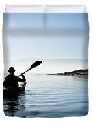 Silhouetted Morro Bay Kayaker Duvet Cover by Bill Brennan - Printscapes