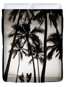Silhouetted Surfers - Sep Duvet Cover by Dana Edmunds - Printscapes