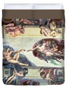 Sistine Chapel Ceiling Creation Of Adam Duvet Cover by Michelangelo
