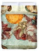 Sistine Chapel Ceiling Creation Of The Sun And Moon Duvet Cover by Michelangelo
