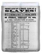 Slave Auction Notice Duvet Cover by Photo Researchers