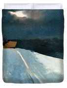 Sleigh Ride Duvet Cover by Winslow Homer
