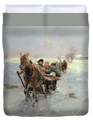 Sleighs In A Winter Landscape Duvet Cover by Janina Konarsky