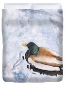 Snake Lake Duck Sketch Duvet Cover by Ken Powers