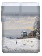 Snow At Montmartre Duvet Cover by Hippolyte Camille Delpy