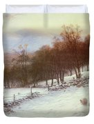 Snow Covered Fields with Sheep Duvet Cover by Joseph Farquharson