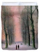 Snow Scene Wanstead Park   Duvet Cover by Nils Hans Christiansen